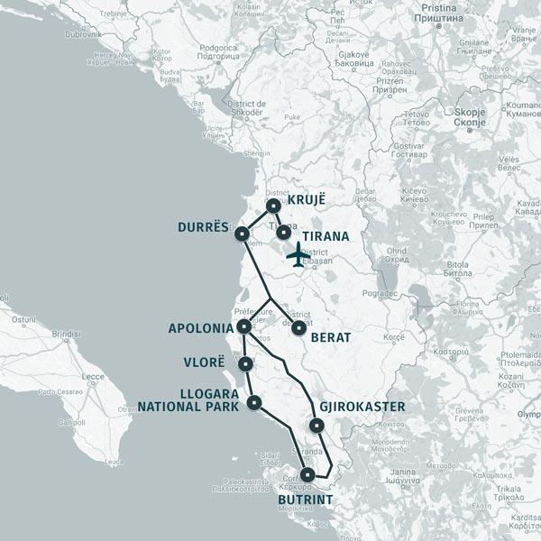 Carte itinéraire séjour Escapade en Albanie