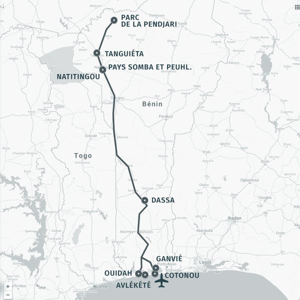 Carte itinéraire voyage en Pendjari