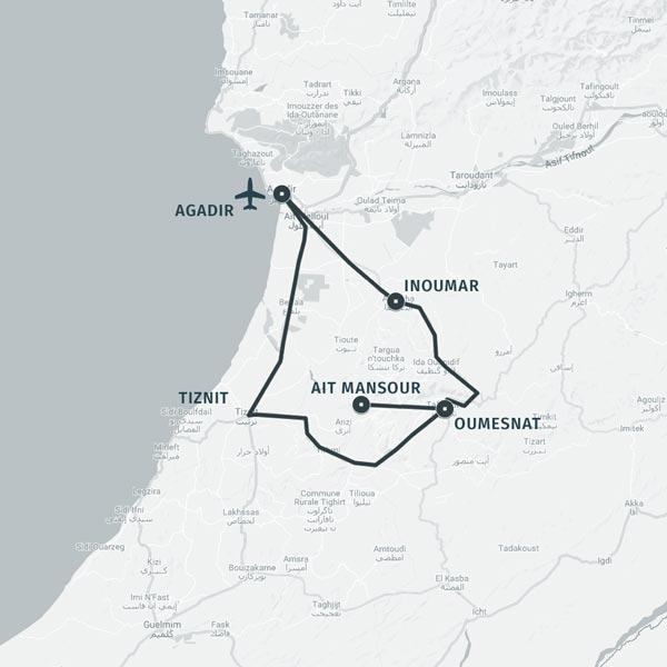 Carte itinéraire séjour Pays berbère, paysages et traditions