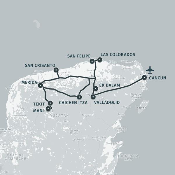 Carte itinéraire séjour Mayas hier et aujourd'hui