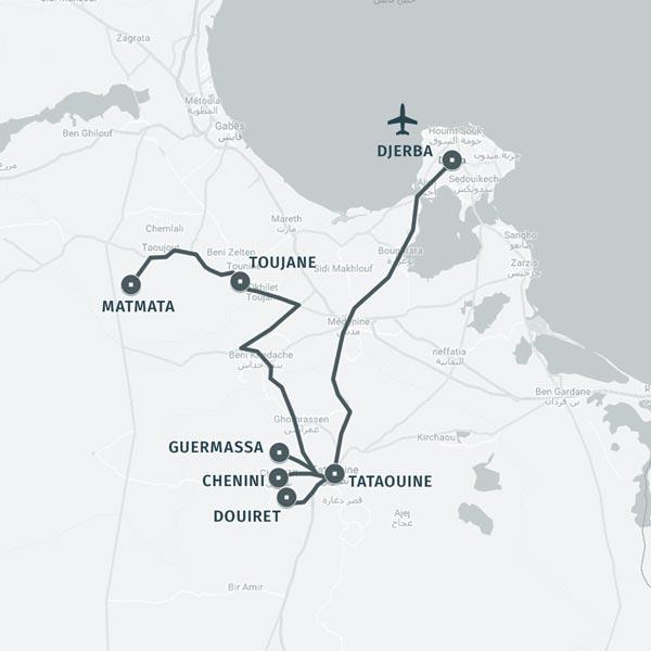 Carte itinéraire séjour secrets et merveilles de Chenini
